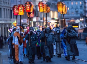 A lantern street parade during the carnival procession, Basel, Switzerland.