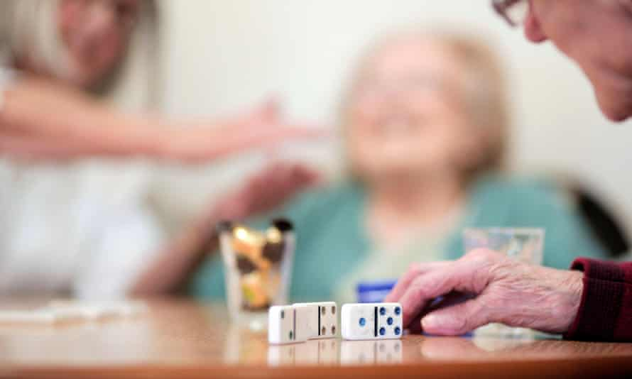 Residents enjoy an activities session at a care home