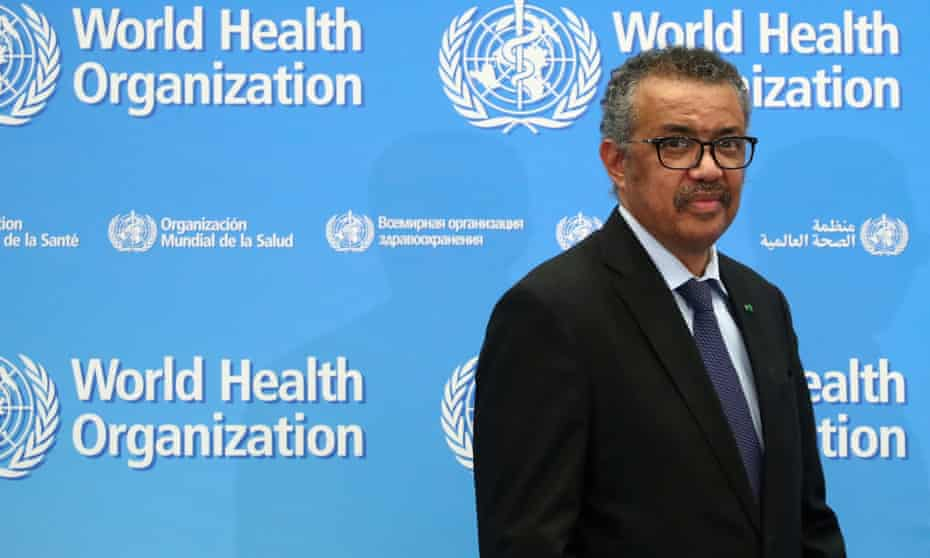 The director general of the World Health Organization, Tedros Adhanom Ghebreyesus, attends a news conference on Covid-19 in Geneva, Switzerland, on 24 February.