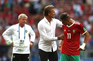 Herve Renard consoles Faycal Fajr after the final whistle.