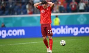Fabian Schaer of Switzerland reacts after failing to score.