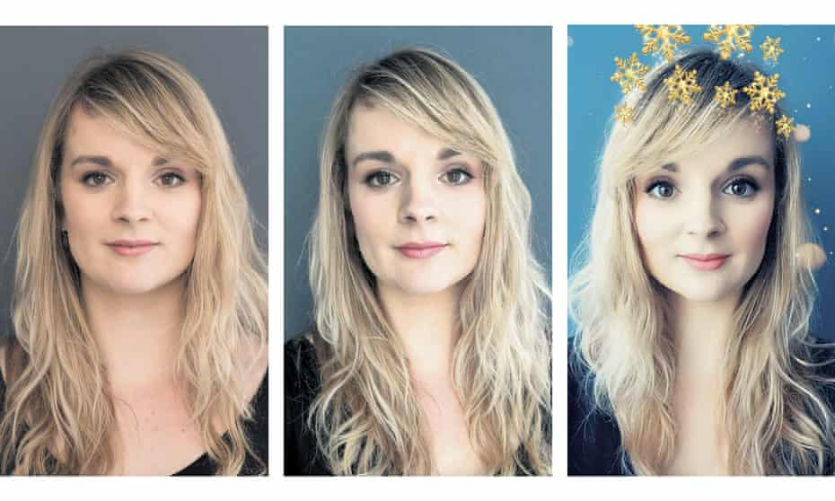 (L-r) A Portrait of Elle Hunt, taken in natural light on a digital camera; a selfie, taken on an iPhone without a filter; a selfie, with a Snapchat filter