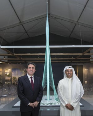 Emaar chairman Mohamed Alabbar, right, stands with the Spanish-Swiss architect Santiago Calatrava Valls in front of the as-yet-unnamed new tower planned for Dubai Creek Harbour.