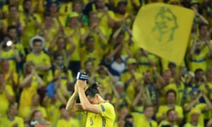 Zlatan Ibrahimovic applauds to acknowledge the spectators spectators as Sweden exit the tournament following their 1-0 defeat to Belgium.