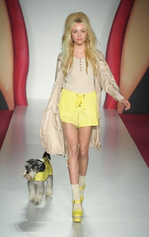 A model walk(ies) the catwalk for Mulberry, 2012.