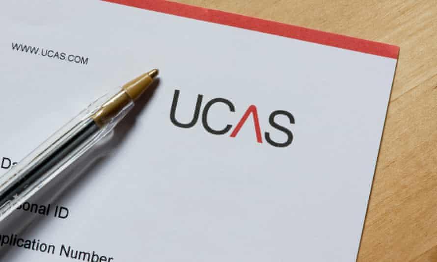 A Ucas, university application, form.
