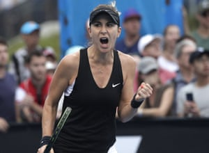 Belinda Bencic reacts after winning a point whilst on her way to victory over Yulia Putintseva.