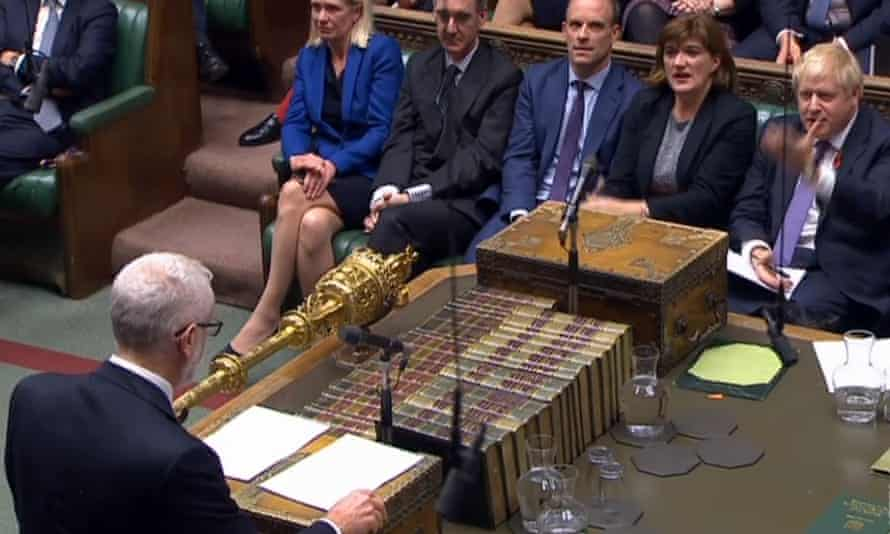 Boris Johnson and Jeremy Corbyn face off during PMQs.