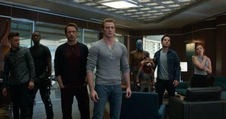 Jeremy Renner, Don Cheadle, Robert Downey Jr., Chris Evans, Karen Gillan, the character Rocket, voiced by Bradley Cooper, Paul Rudd and Scarlett Johansson in Avengers: Endgame.