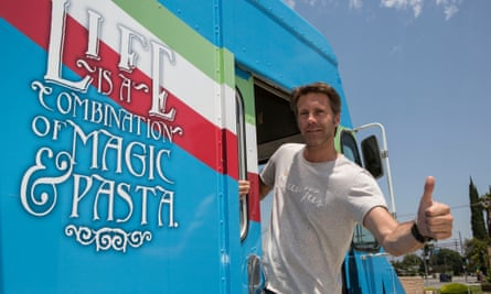 Emanuele Filiberto of Savoy with his food truck in Los Angeles.