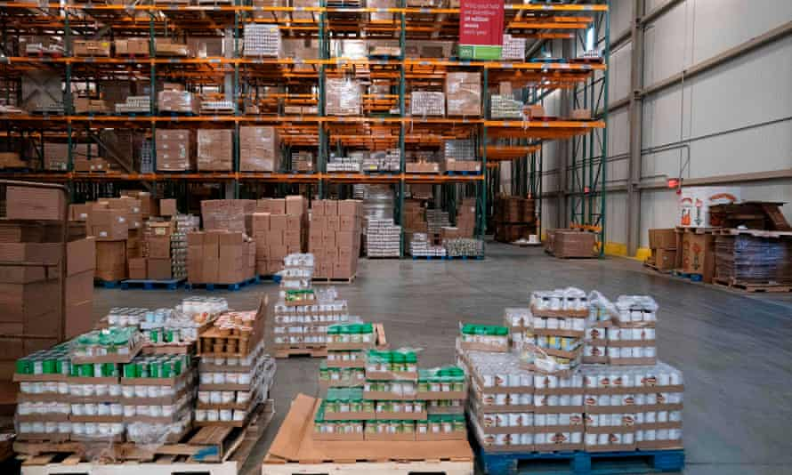 Capital Area Food Bank in Washington DC. The coronavirus pandemic is putting a strain on US food banks.