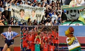 Diego Maradona and Lionel Messi are fêted by fans; a Mexican fan; Zizito, the mascot of the 2019 tournament; Chile celebrate; and Martin Palermo get his knickers in a twist.