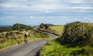 A cyclist on the lanes around Wareham, Dorset.