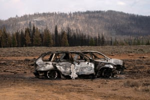Beatty, US The remnants of cars destroyed by the Bootleg fire are seen near Oregon