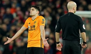 Wolverhampton Wanderers' Pedro Neto reacts after his goal is disallowed.