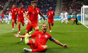 The England captain, Harry Kane, celebrates after scoring against Tunisia in Volgograd, Russia.