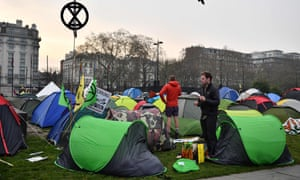 Extinction Rebellion protesters at Marble Arch in London in April.