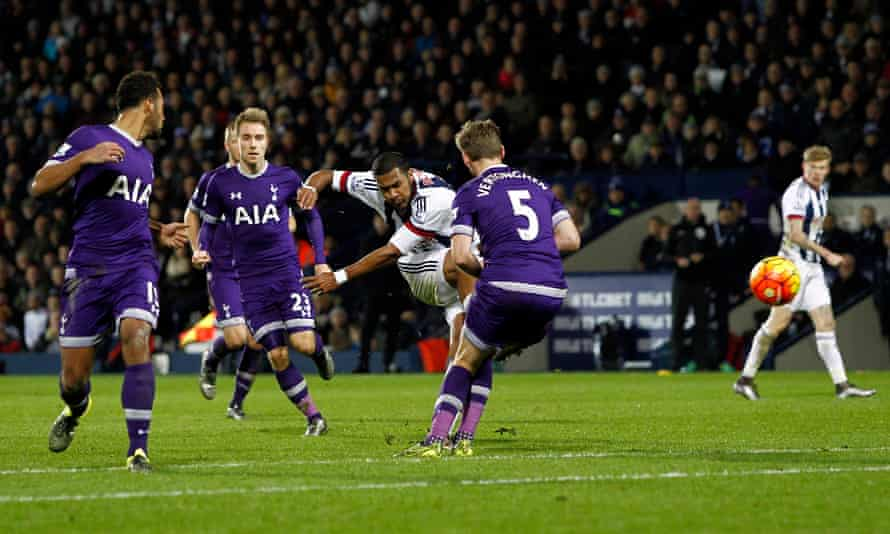West Bromwich Albion's Salomón Rondón fires a shot from the edge of the area at the Tottenham Hotspur goal.