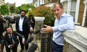 Alastair Campbell speaks to the media outside his home in north London after he was expelled from the Labour party for admitting he voted for the Liberal Democrats in last week's European elections.