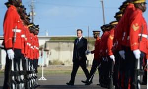 British prime minister David Cameron on a visit to Kingston, Jamaica