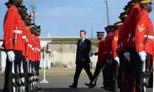British prime minister David Cameron on a visit to Kingston, Jamaica