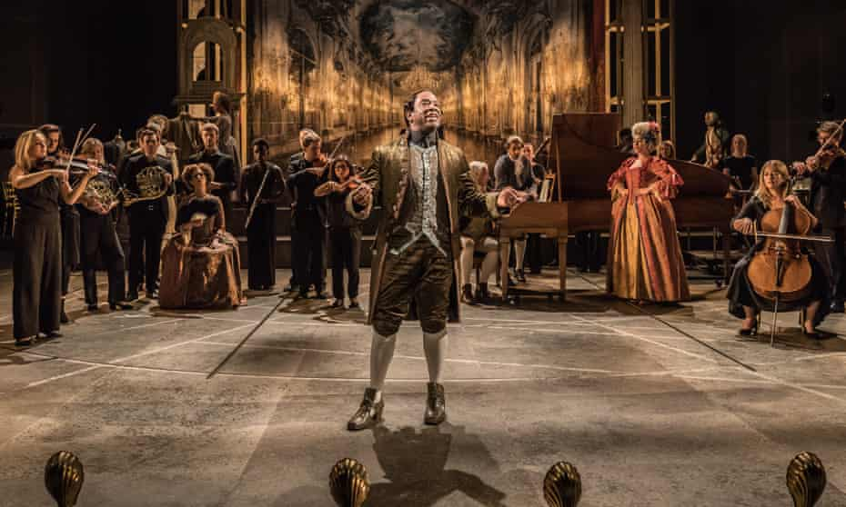 Epic space … Lucian Msamati in Michael Longhurst's production of Amadeus at the National Theatre in 2016.