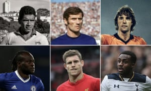 Clockwise, from top left: Nilton Santos, Giacinto Facchetti, Ruud Krol, Danny Rose, James Milner and Victor Moses.