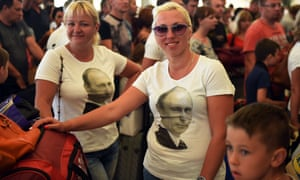 Russian tourists queue inside Sharm el-Sheikh airport.