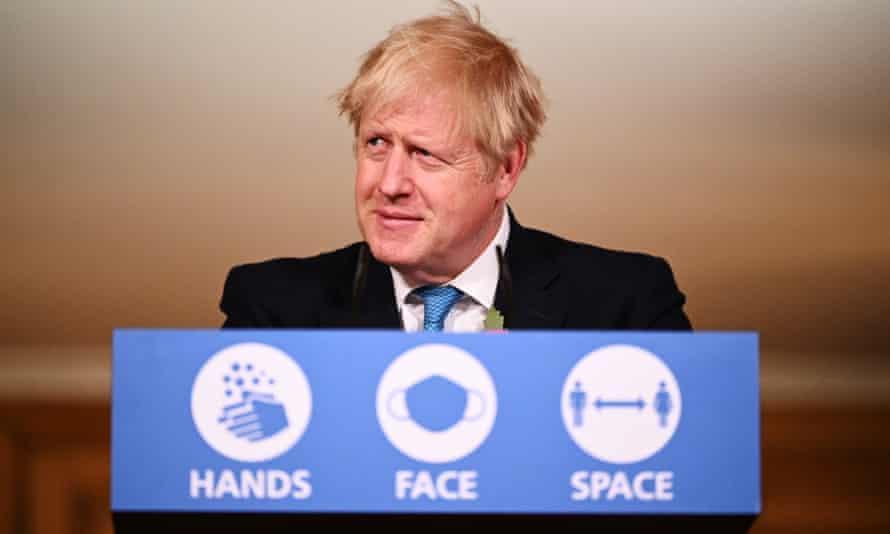 Boris Johnson at a briefing in November 2020.