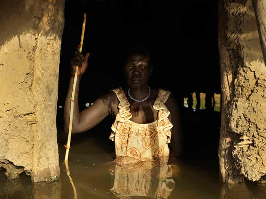 Nyakeet Yoay in her flooded home