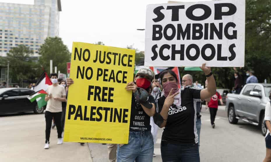 Pro-Palestine protesters march in Houston, Texas, last week.