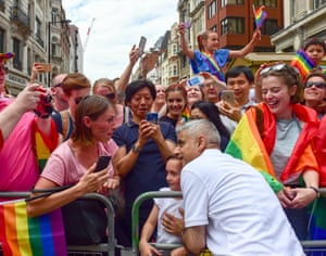 Sadiq Khan poses for selfies as people take part in Pride in London, the LGBT+ parade