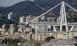 A view of the collapsed Morandi highway bridge in Genoa, Italy.
