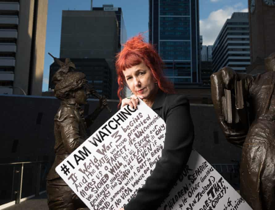Isobelle Carmody and her protest sign