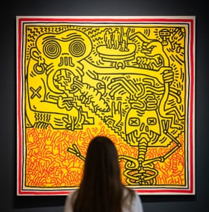 London, UK: Untitled (1984) by Keith Haring, with an auction estimate of £1.6m-£2.2m, is seen during a press preview at Sotheby's in London