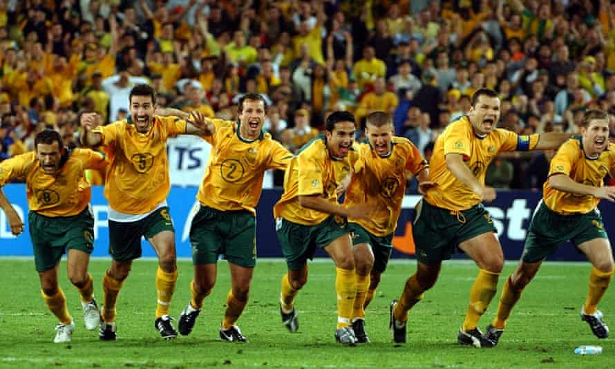 The Socceroos celebrate their victory after John Aloisi's goal in 2005
