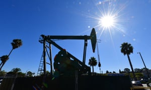 A pumpjack from California-based energy company Signal Hill Petroleum is seen in Signal Hill, California