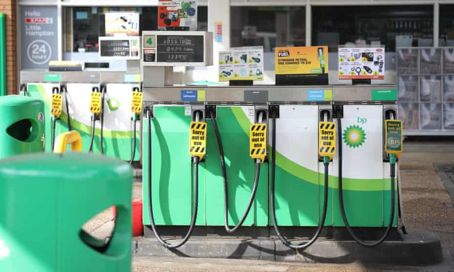 Sorry out of use signs on the pump at the BP service station in Yaxley, near Peterborough in Cambridgeshire.