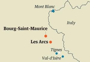 Les Arcs map
