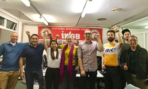Members of the executive committee of the IWGB union including Maritza Calle (third left), Wilson Romero (far right) and Alexander Marshall (second right)