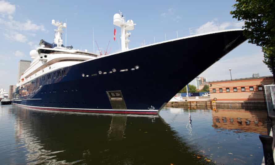 Paul Allen's yacht Octopus moored at Canary Wharf during the 2012 Summer Olympics in London.