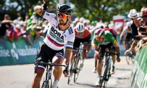 Peter Sagan celebrates winning the third stage of the Tour of Switzerland
