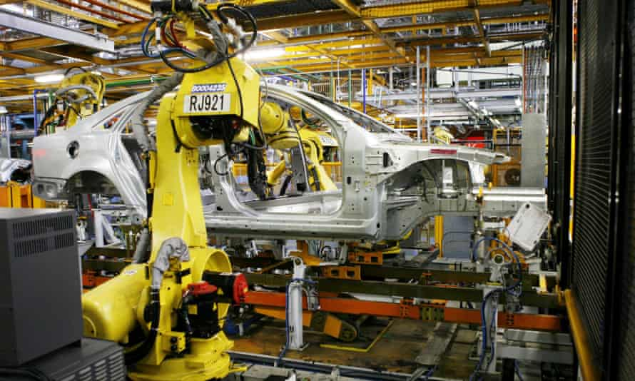Robots on the production line at Holden's manufacturing plant in Elizabeth, South Australia. The major carmakers will leave Australia in 2017.