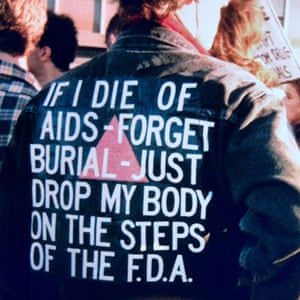 A jacket worn by Wojnarowicz at an AIDs demonstration in 1988.