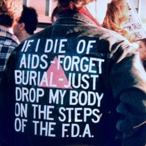 Jacket worn by David Wojnarowicz at an Aids demonstration in 1988.