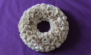 paper flower wreath made from pages of a book