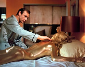 With Shirley Eaton in Goldfinger.