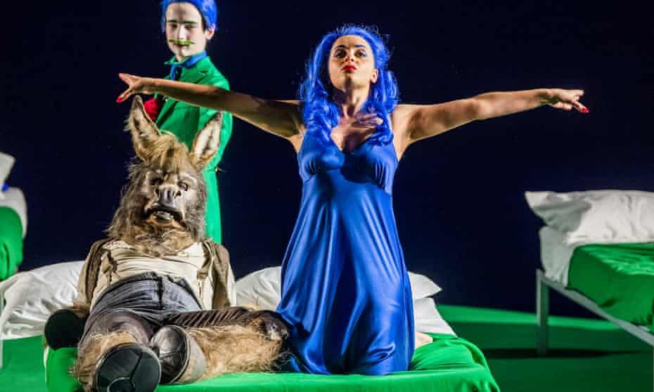 Joshua Bloom as Bottom and Soraya Mafi as Tytania in A Midsummer Night's Dream at the Coliseum, London.