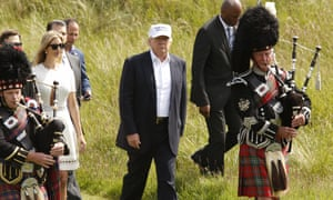 Donald Trump arrives to the sound of bagpipes.