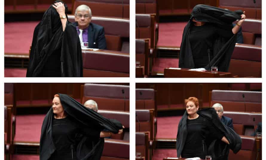Pauline Hanson taking off a burqa in the Senate. Handling the One Nation leader is complex, not an either or choice, for politicians or for the media.